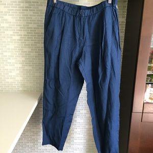 NWT Eileen Fisher Blue Linen Tencel Crepe Trousers